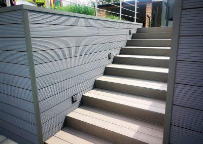 Világosszürke Premium Classic WPC lépcső, Sopron