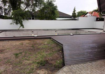 Sötét dió Co-extrudált WPC terasz burkolat, Szeged