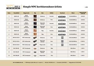 Simple WPC kerítészrendszer árlista
