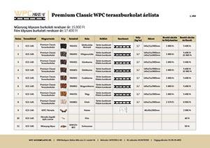 Premium Classic WPC teraszburkolat árlista