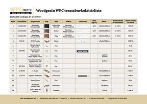Woodgrain WPC teraszburkolat árlista