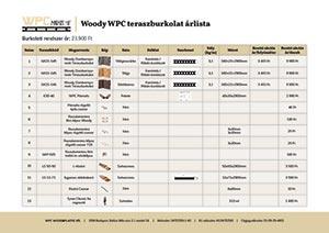 Woody WPC teraszburkolat árlista