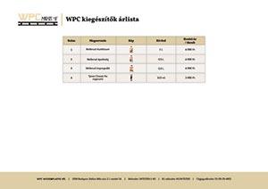 WPC kiegészítők árlista