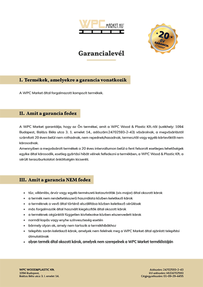 Co-extrudált WPC teraszburkolat Garancialevél
