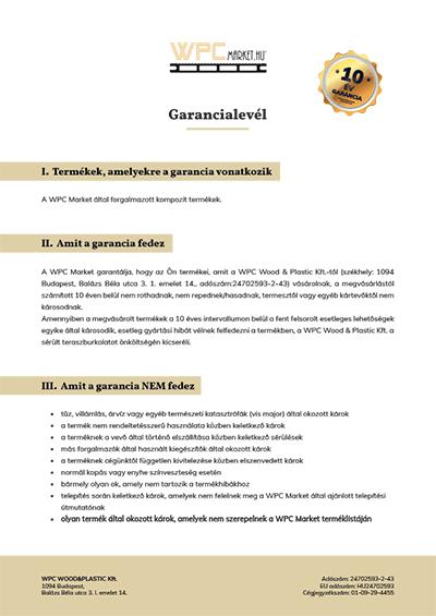Premium Classic WPC teraszburkolat Garancialevél