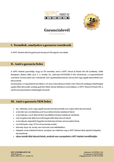Woodgrain WPC teraszburkolati rendszer Garancialevél