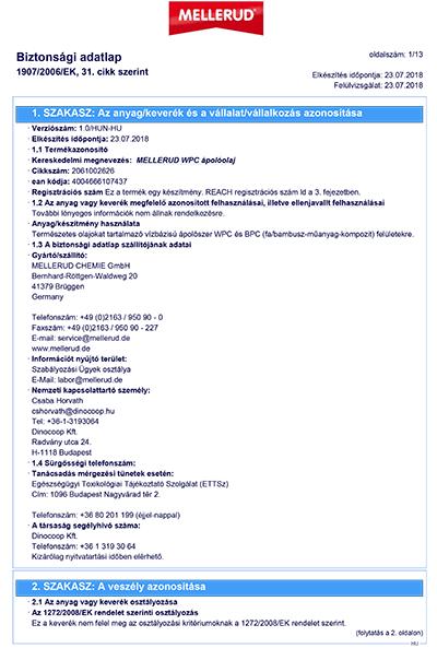 Mellerud WPC ápolóolaj műszaki leírása