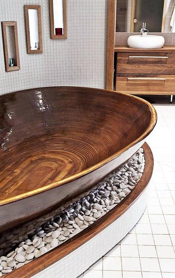 Díszkövek díszítése, fürdőszoba